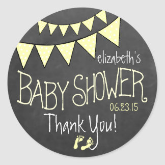 Yellow Bunting Flags Chalkboard Look- Baby Shower Round Sticker