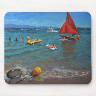 Yellow Buoy and Red Sails Abersoch Mouse Pad