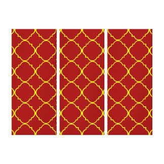 Yellow & Burnt Red Quatrefoil Gallery Wrap Canvas