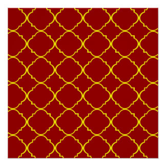 Yellow & Burnt Red Quatrefoil Perfect Poster