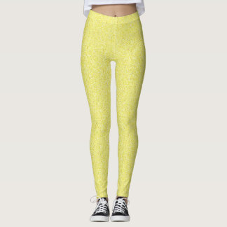 Yellow Burst of Sunshine Faux Glitter Leggings