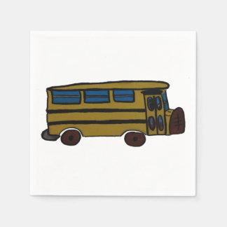 yellow bus paper napkin