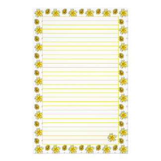 Yellow Buttercup Watercolor Painted Flowers Lined Stationery Paper