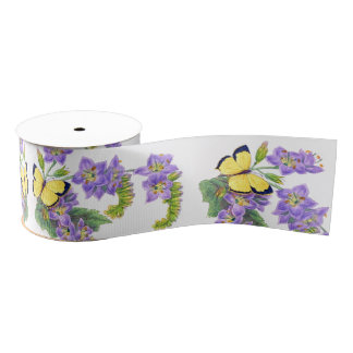 Yellow Butterflies Floral Flowers Ribbon Grosgrain Ribbon