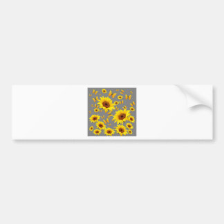 YELLOW BUTTERFLIES LOVE SUNFLOWERS BUMPER STICKER