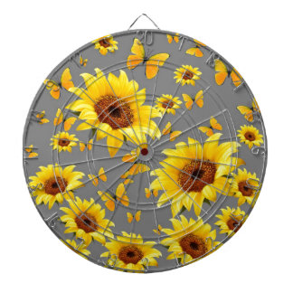 YELLOW BUTTERFLIES LOVE SUNFLOWERS DARTBOARD