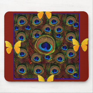 Yellow Butterflies Peacock Feather Eyes Brown ART Mouse Pad