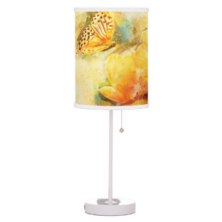 Yellow Butterfly and Flowers in Spring Garden Table Lamp