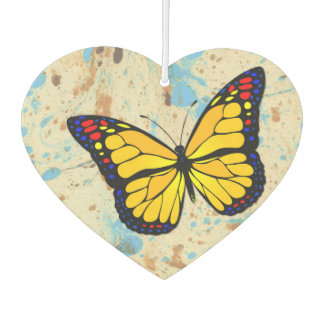 Yellow butterfly car air freshener
