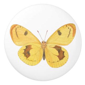 Yellow Butterfly Custom Ceramic Door Knob Ceramic Knob