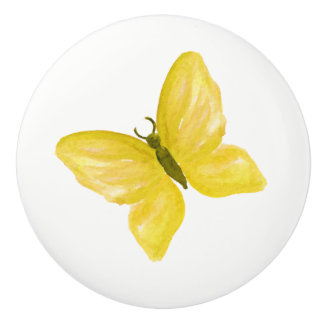 yellow butterfly knob