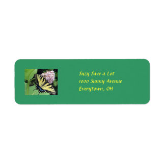 Yellow Butterfly Custom Return Address Label