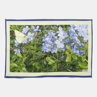 Yellow Butterfly Lavender Blue Plumbago Flowers Kitchen Towel