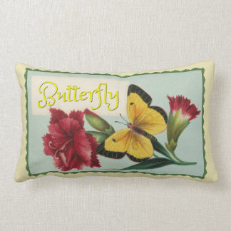 Yellow Butterfly Lumbar Pillow