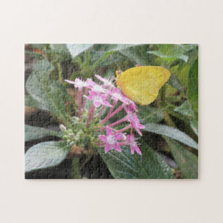 Yellow Butterfly on Pink Flowers Puzzle