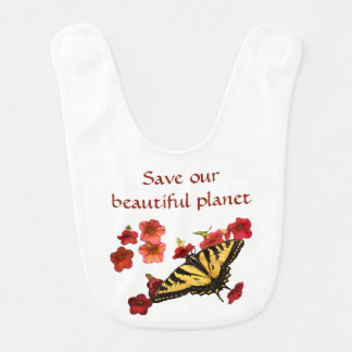 Yellow Butterfly on Red Flowers Save Our Planet Bib