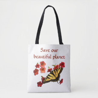Yellow Butterfly on Red Flowers Save Our Planet Tote Bag