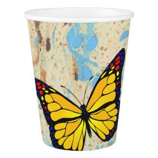 Yellow butterfly paper cup