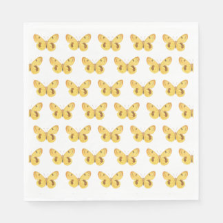 Yellow Butterfly Pattern- Paper Napkins