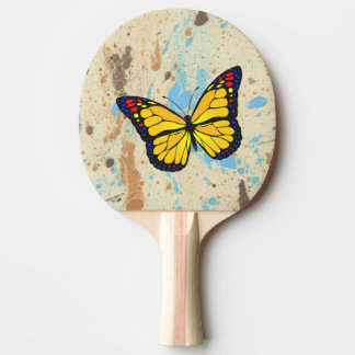 Yellow butterfly ping pong paddle