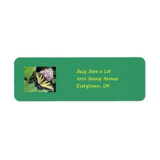 Yellow Butterfly Return Address Label