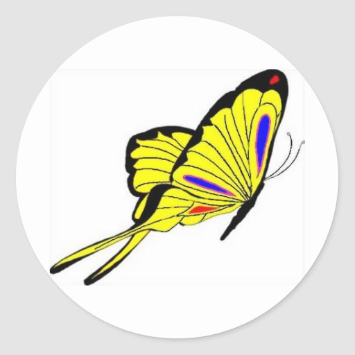 Yellow Butterfly Round Stickers