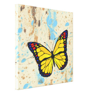 Yellow butterfly stretched canvas print