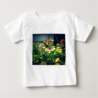 Yellow Butterfly with Flowers Photo Baby T-Shirt