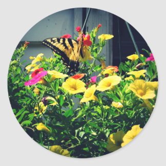 Yellow Butterfly with Flowers Photo Classic Round Sticker