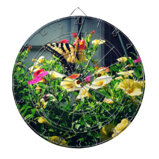 Yellow Butterfly with Flowers Photo Dartboard