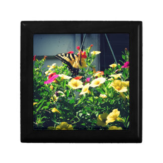 Yellow Butterfly with Flowers Photo Gift Box