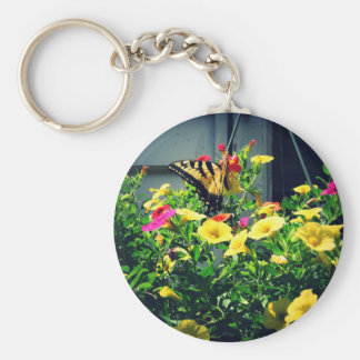 Yellow Butterfly with Flowers Photo Keychain