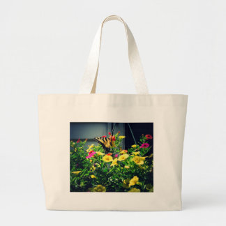 Yellow Butterfly with Flowers Photo Large Tote Bag