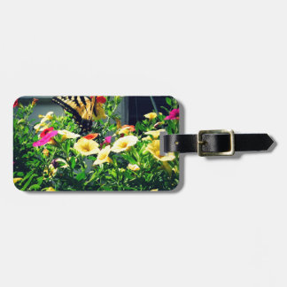 Yellow Butterfly with Flowers Photo Luggage Tag