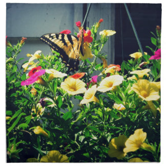 Yellow Butterfly with Flowers Photo Napkin