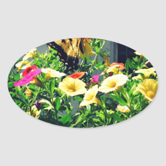 Yellow Butterfly with Flowers Photo Oval Sticker