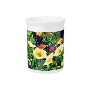 Yellow Butterfly with Flowers Photo Pitcher