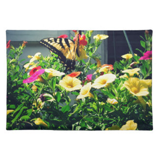 Yellow Butterfly with Flowers Photo Placemat