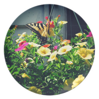 Yellow Butterfly with Flowers Photo Plate