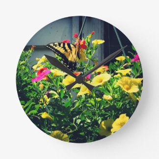 Yellow Butterfly with Flowers Photo Round Clock