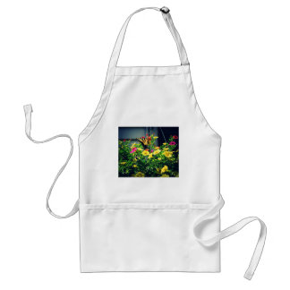 Yellow Butterfly with Flowers Photo Standard Apron
