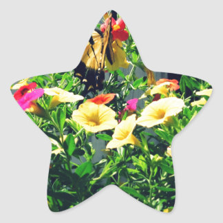 Yellow Butterfly with Flowers Photo Star Sticker