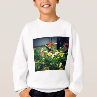 Yellow Butterfly with Flowers Photo Sweatshirt