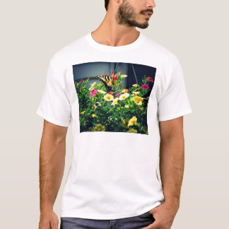 Yellow Butterfly with Flowers Photo T-Shirt