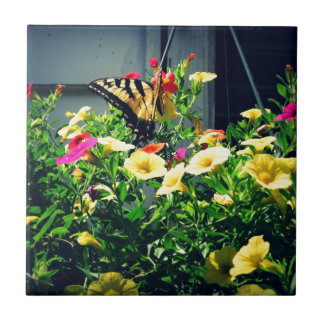 Yellow Butterfly with Flowers Photo Tile
