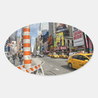 Yellow cab in NYC Oval Sticker