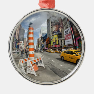 Yellow cab in NYC Silver-Colored Round Ornament