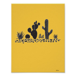 Yellow Cactus and Succulents Poster