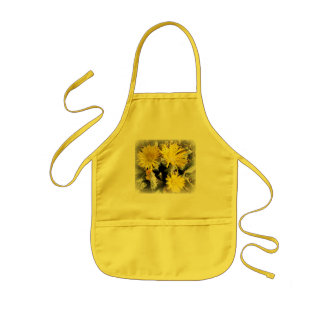 Yellow Cactus Blooming Flowers Kids Apron