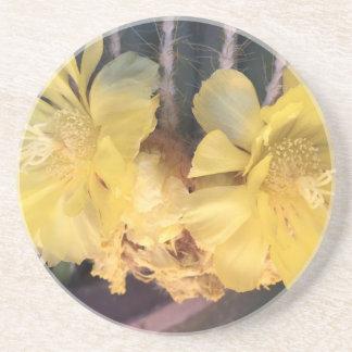 Yellow cactus flower beverage coaster